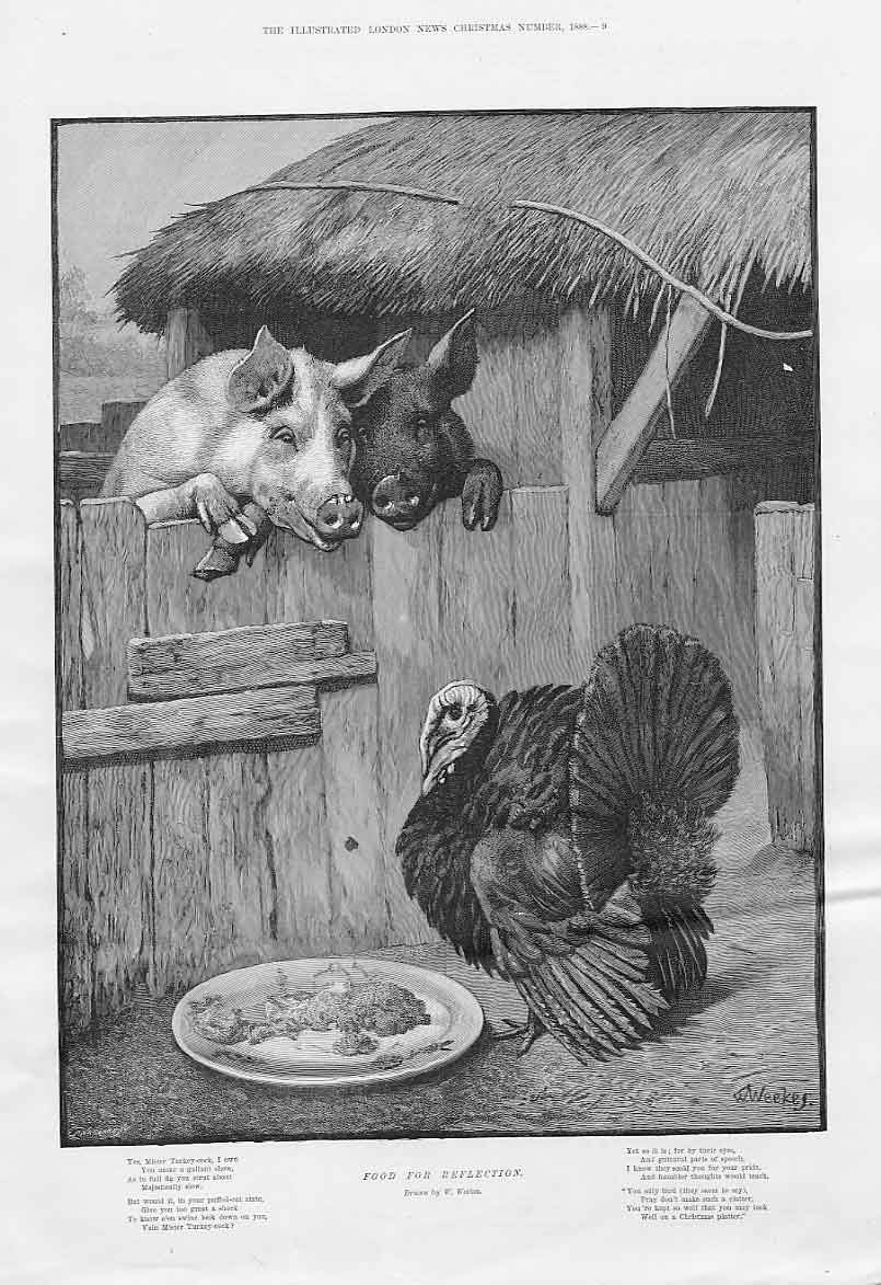 Print Food For Reflection Christmas Turkey 09Aaa1 Old Original