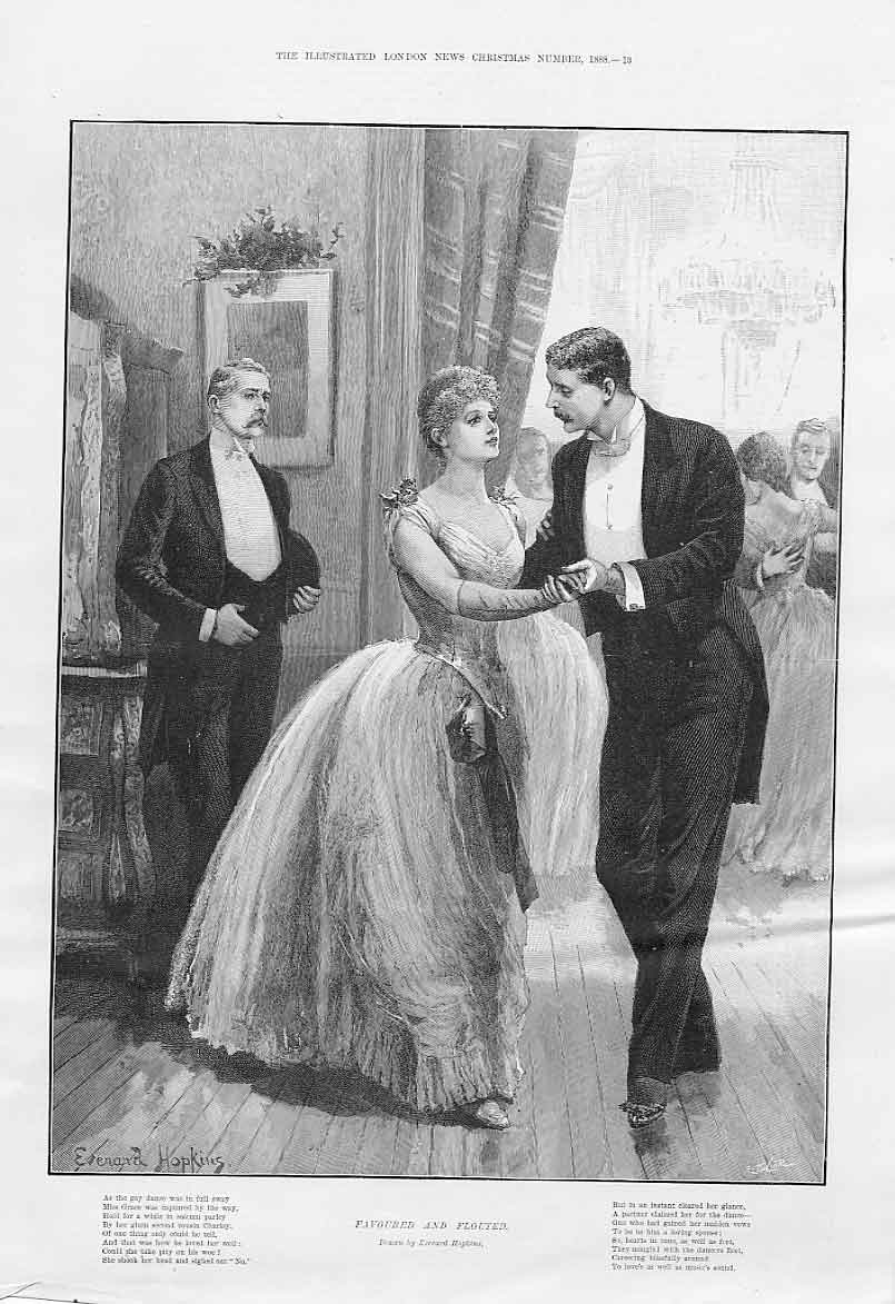 Print Favoured & Flouted At Christmas Ball 1888 13Aaa1 Old Original