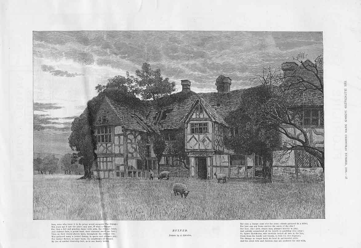 Print The Grange Ruined House 1888 Quinton 17Aaa1 Old Original