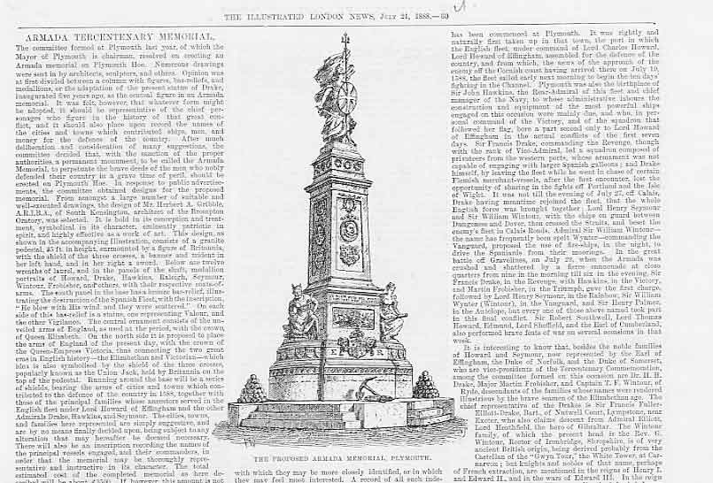 Print Proposed Armada Memorial Plymouth 1888 60Uaaa1 Old Original