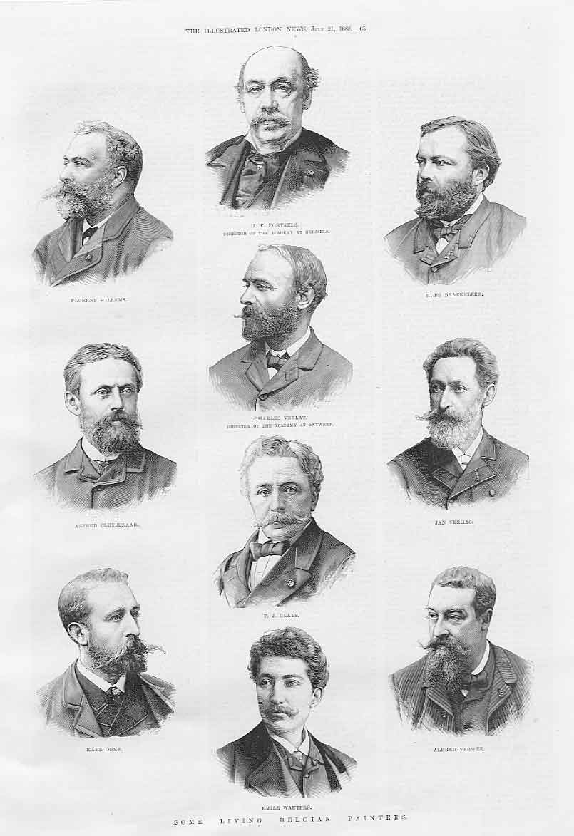 Print Portrait 10 Belgian Painters 1888 65Aaa1 Old Original