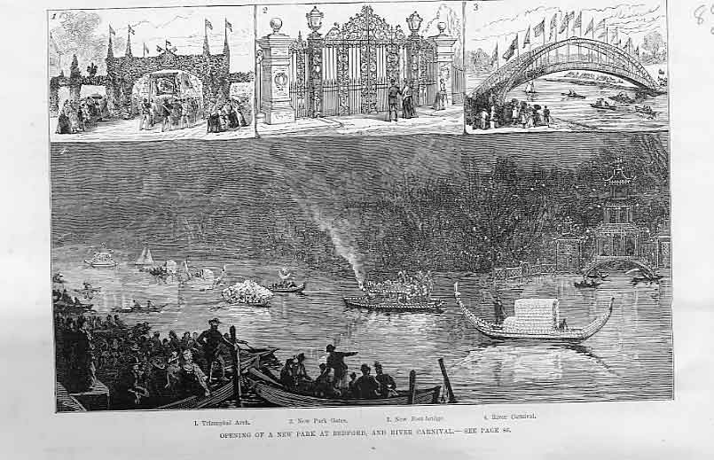 Print New Park And River Carnival Bedford 1888 84Laaa1 Old Original