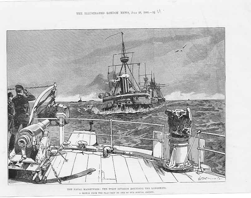 Print Naval Manoeuvres Rounding Long Ships 1888 92Uaaa1 Old Original