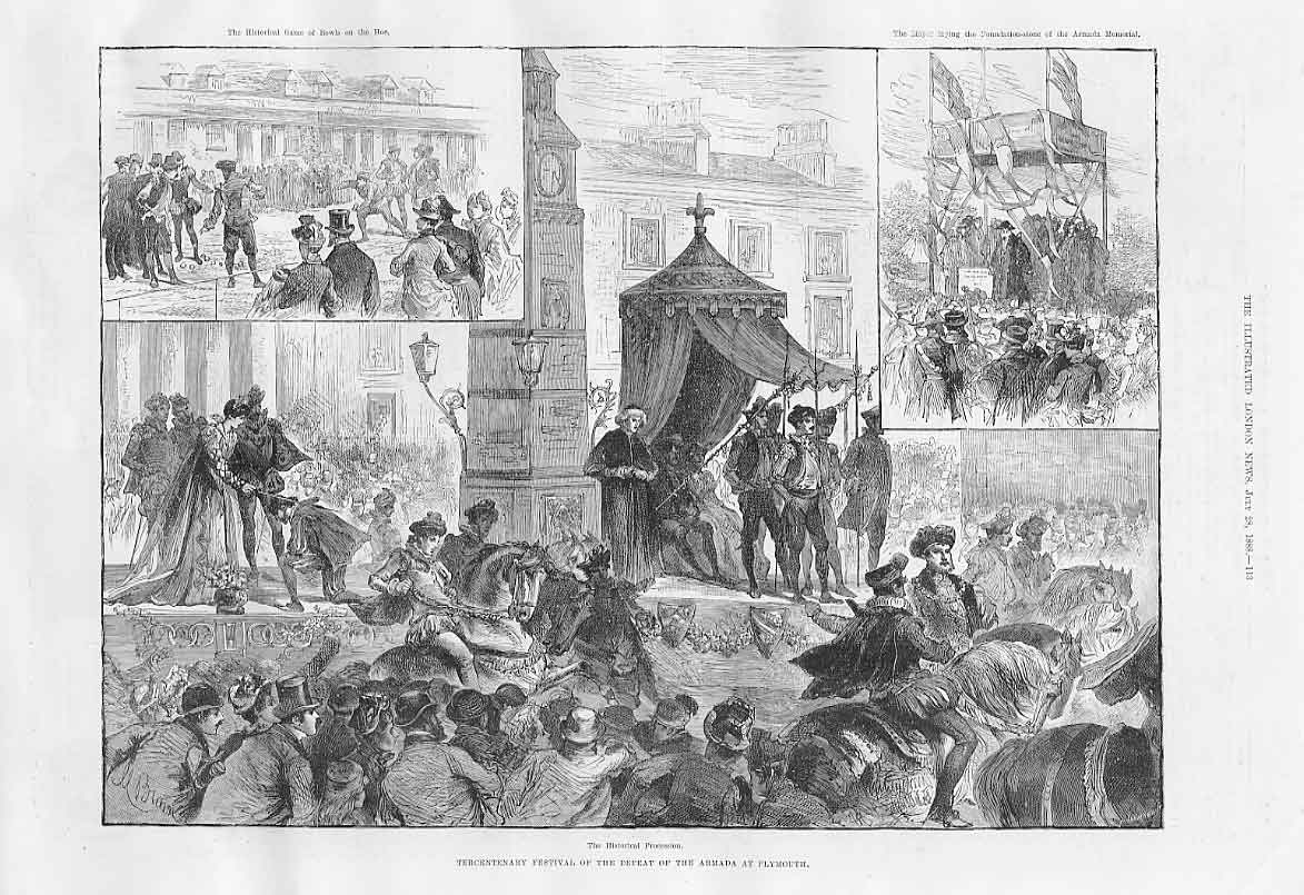 Print 1888 Plymouth Festival Procession Defeat Of Armada 13Aaa1 Old Original