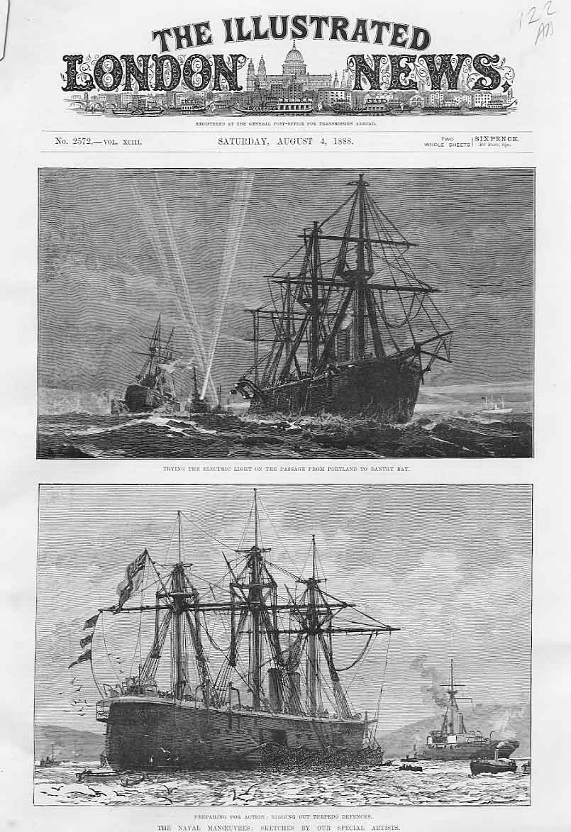 Print Testing Electric Light En Route Bantry Bay 1888 Ships 22Aaaa1 Old Original
