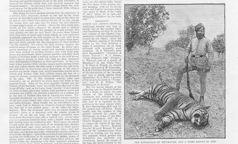 Print Maharajah Tikumgurh And A Tiger 1888 31Aaa1 Old Original