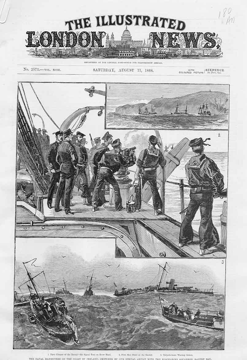 Print Blocking Squadron Bantry Bay 1888 Ships 80Aaaa1 Old Original