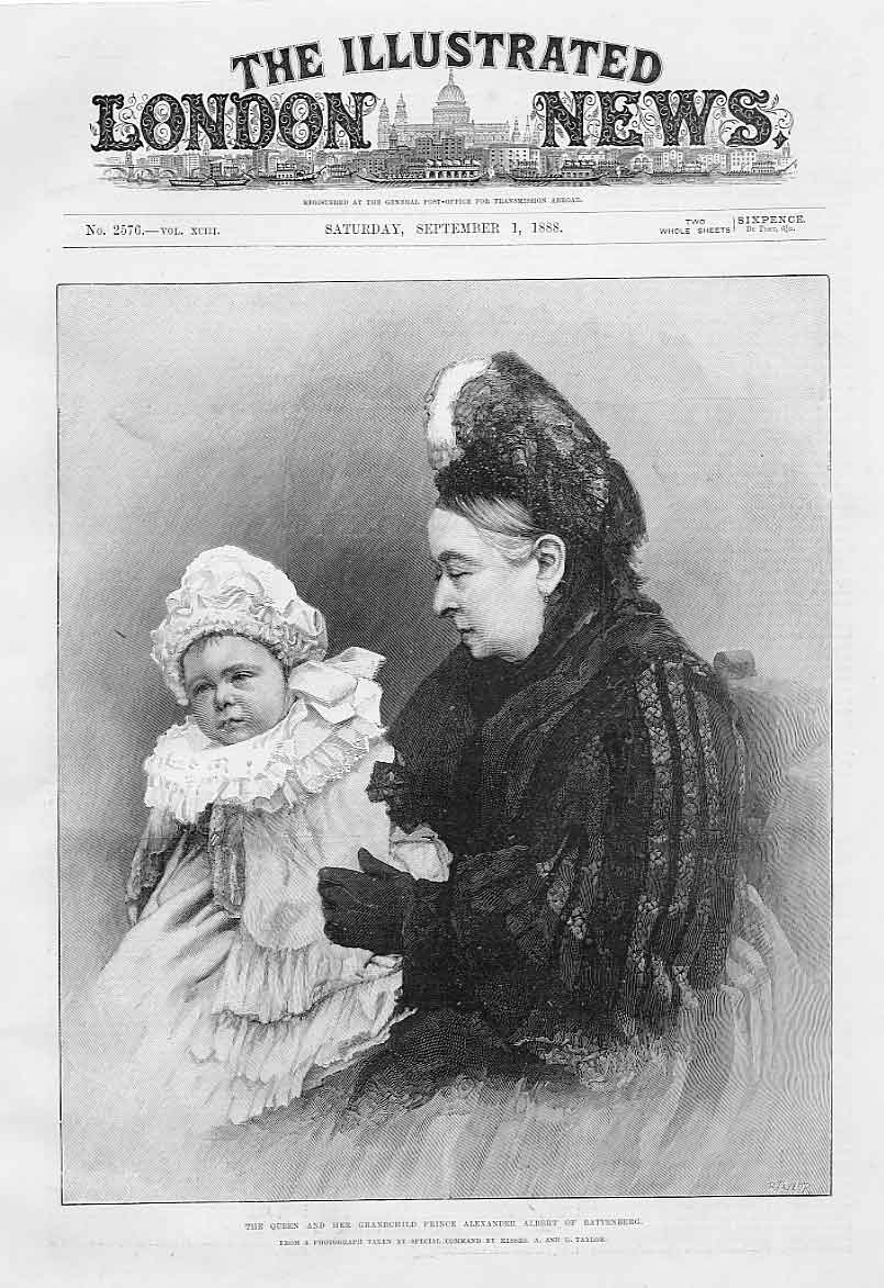 Print Queen Victoria & Grandchild Prince Alexander Albert Bat 42Aaa1 Old Original