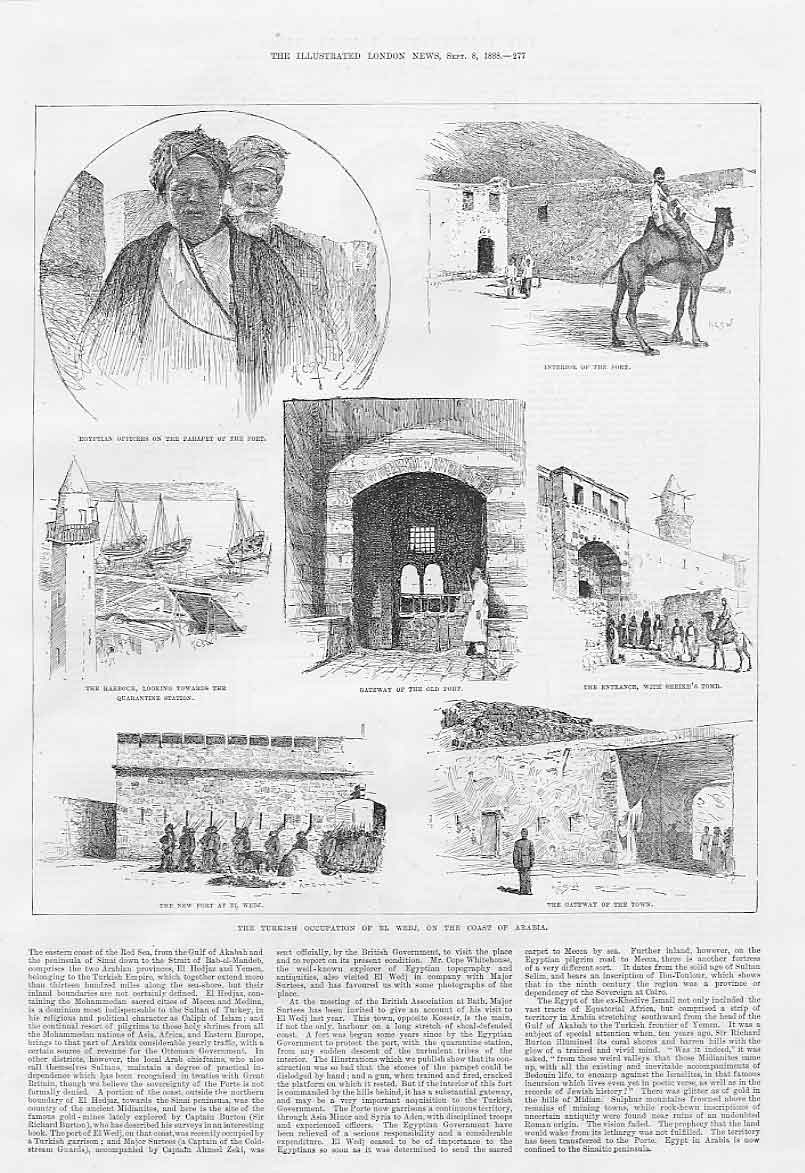 Print Turkish Occupation El Wedji Arabia 1888 77Aaa1 Old Original