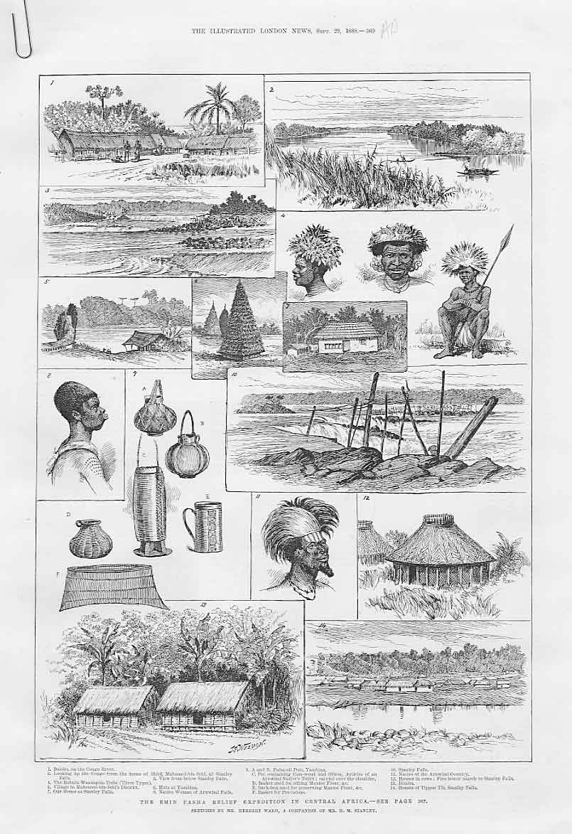 Print Emin Pasha Relief Expedition Central Africa 1888 69Aaaa1 Old Original