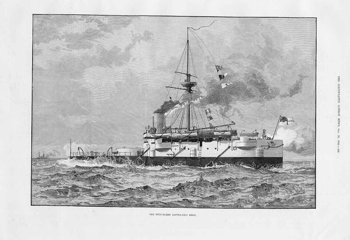 Print Twin Screw Battle Ship Hero 1888 65Aaa1 Old Original