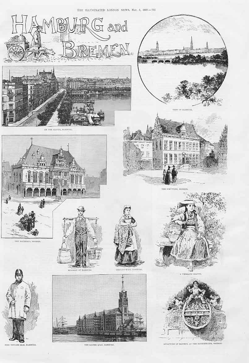 Print Hamburg & Bremen 1888 Germany 12Aaa1 Old Original