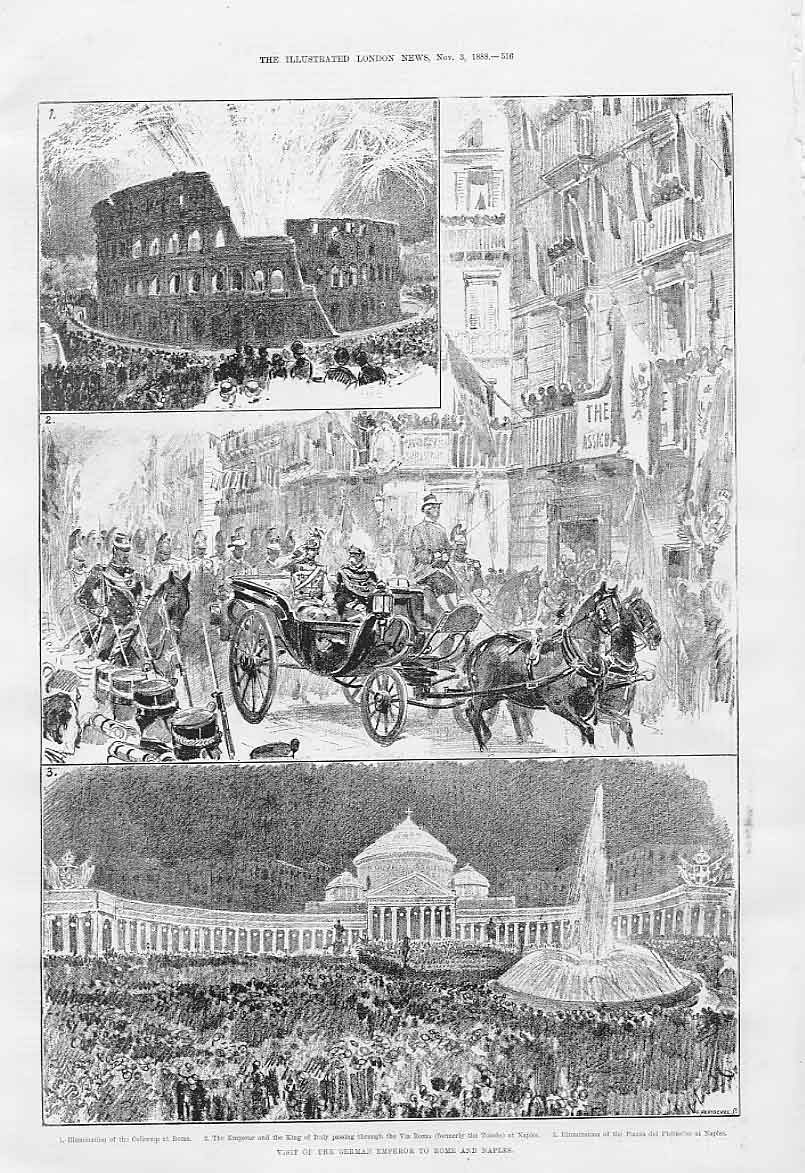 Print Visit German Emperor To Rome & Naples Italy 1888 16Aaa1 Old Original