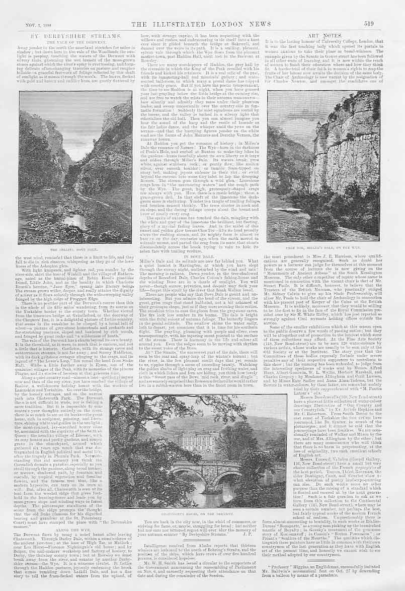 Print By Derbyshire Streams 1888 Illusrtrated Article 19Aaa1 Old Original