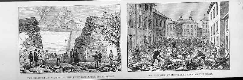 Print Disaster At Montreux Burst Resevoir 1888 France 76Maaa1 Old Original