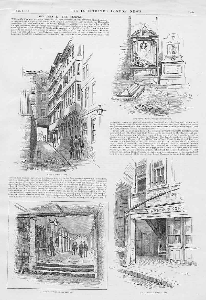 Print Sketches In Nthe Temple London 1888 55Aaa1 Old Original