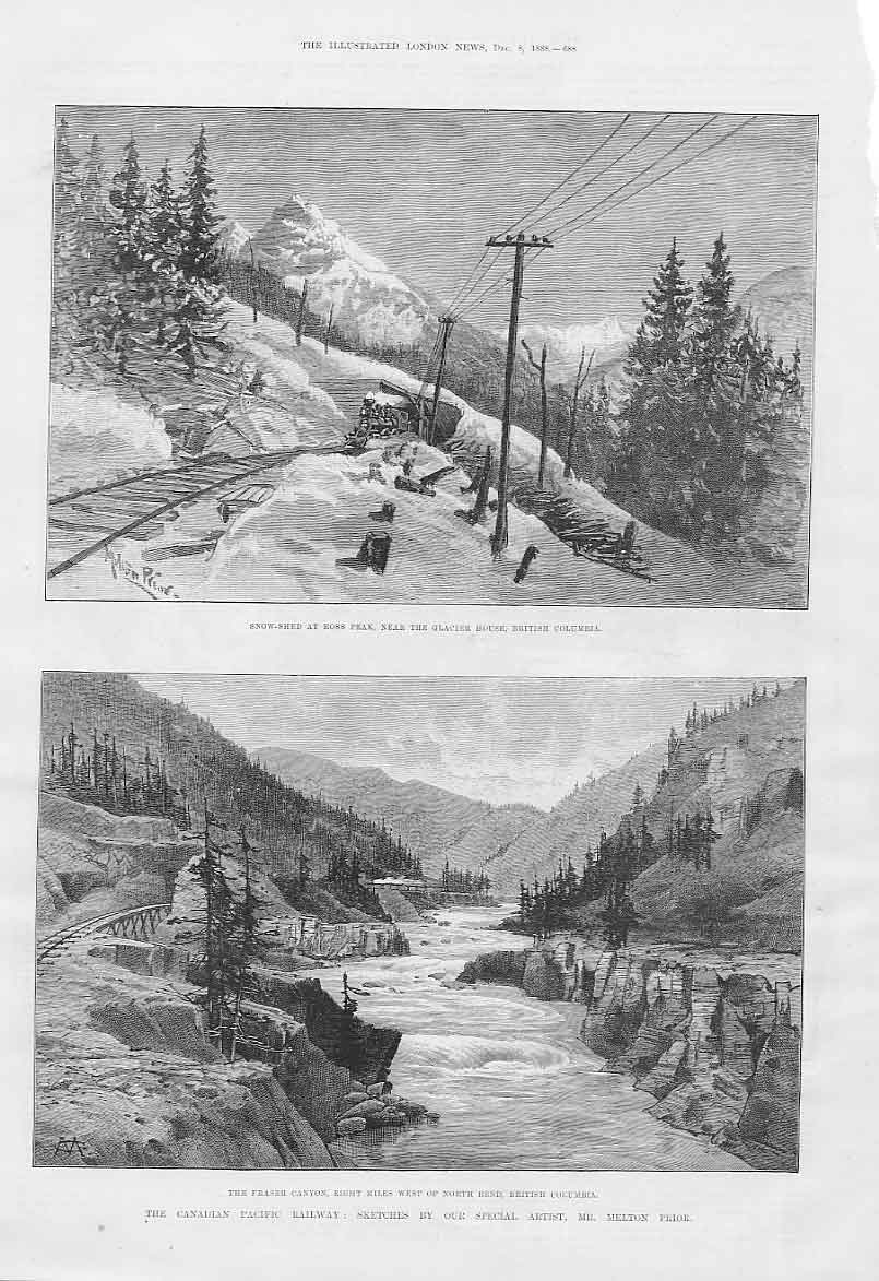 Print Fraser Canyon Glacier House Canadian Pacific Railway 88Aaa1 Old Original