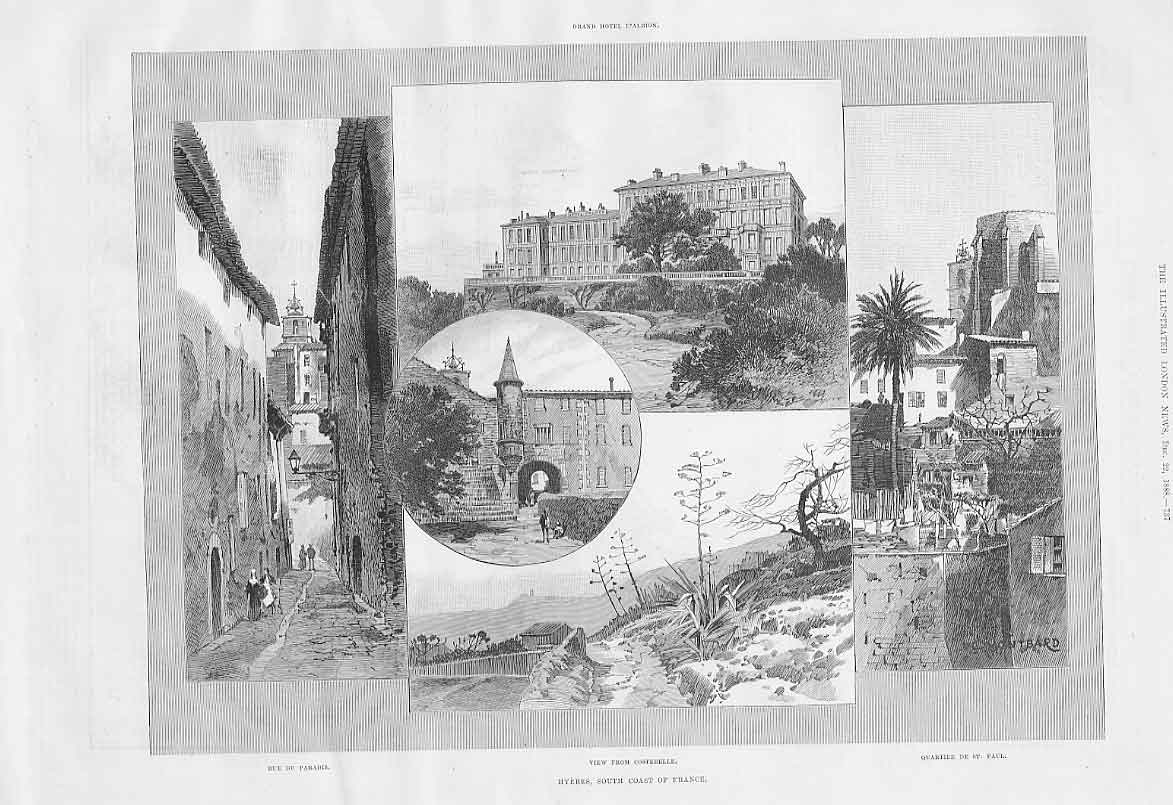 Print Hyeres France Hotel D'Albion & Views 188 37Aaa1 Old Original