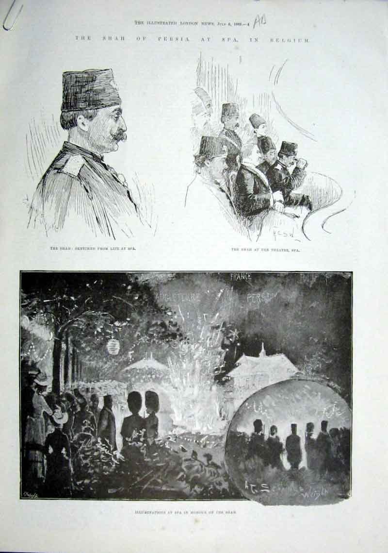 Print Shah Persia At Spa Belgium 1889 04Aaaa1 Old Original