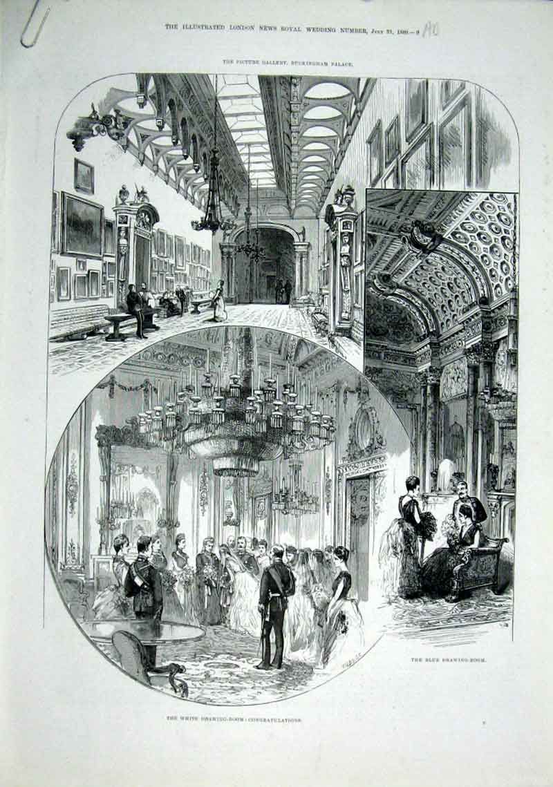 Print White & Blue Drawing Rooms Buckingham Palace 1889 09Aaaa1 Old Original