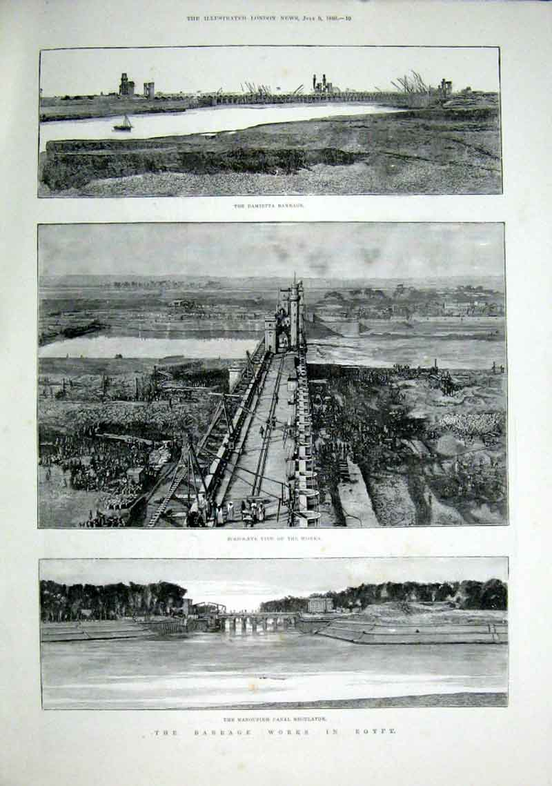 Print Barrage Works Egypt 1889 Damietta & Manoufieh 10Aaa1 Old Original