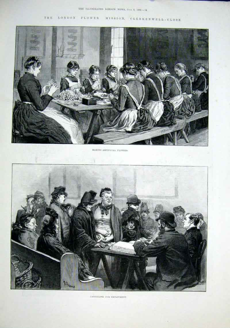 Print *0008 London Flower Mission Clerkenwell Close 1889 14Aaa1 Old Original