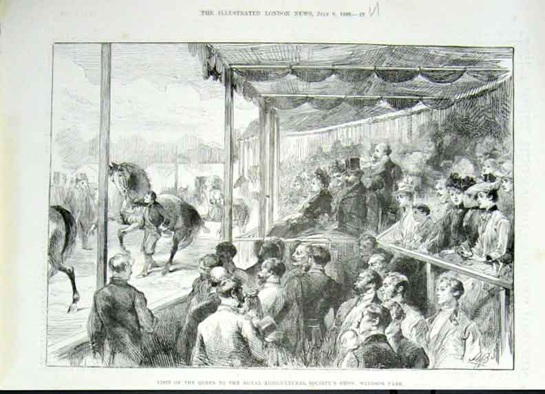[Print Queen Watching Horses Windsor Agricultural Show 1889 27Uaaa1 Old Original]