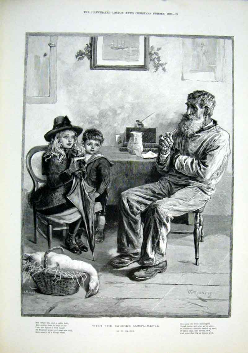 Print A Goose With Squire'S Compliments For Christmas 1889 29Caaa1 Old Original