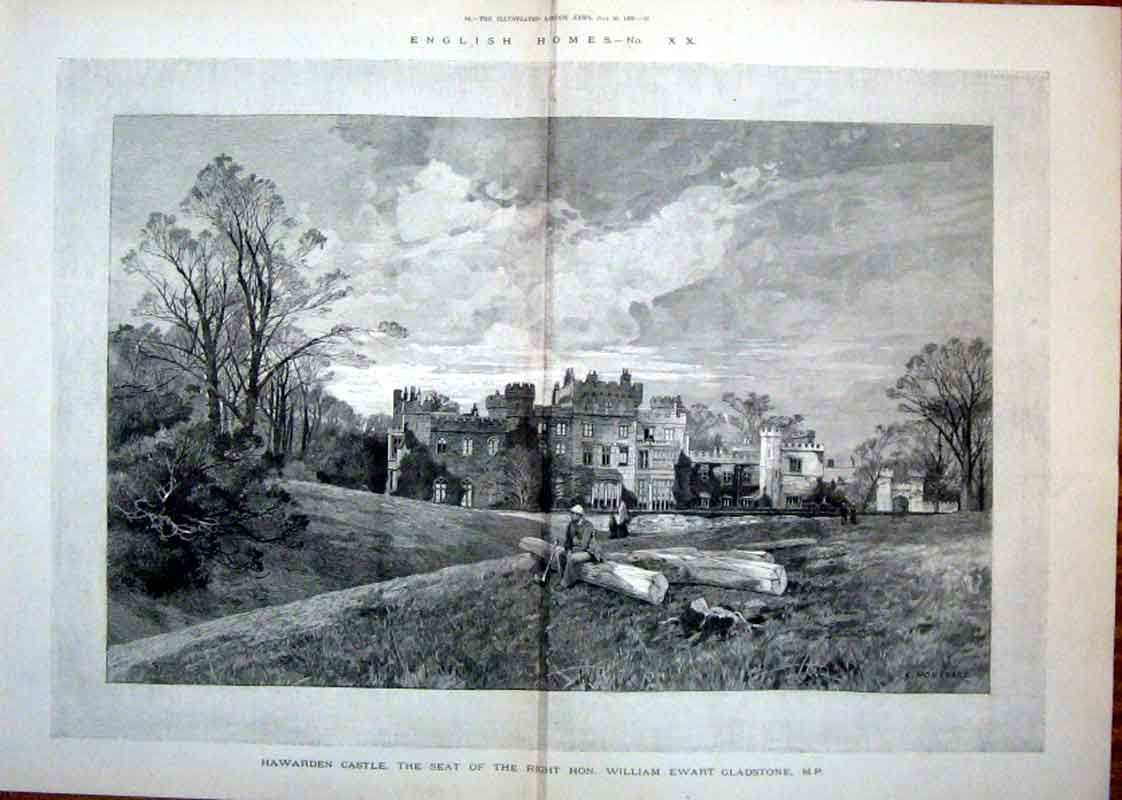 Print English Homes Haewarden Castle 1889 Wales 81Taaa1 Old Original