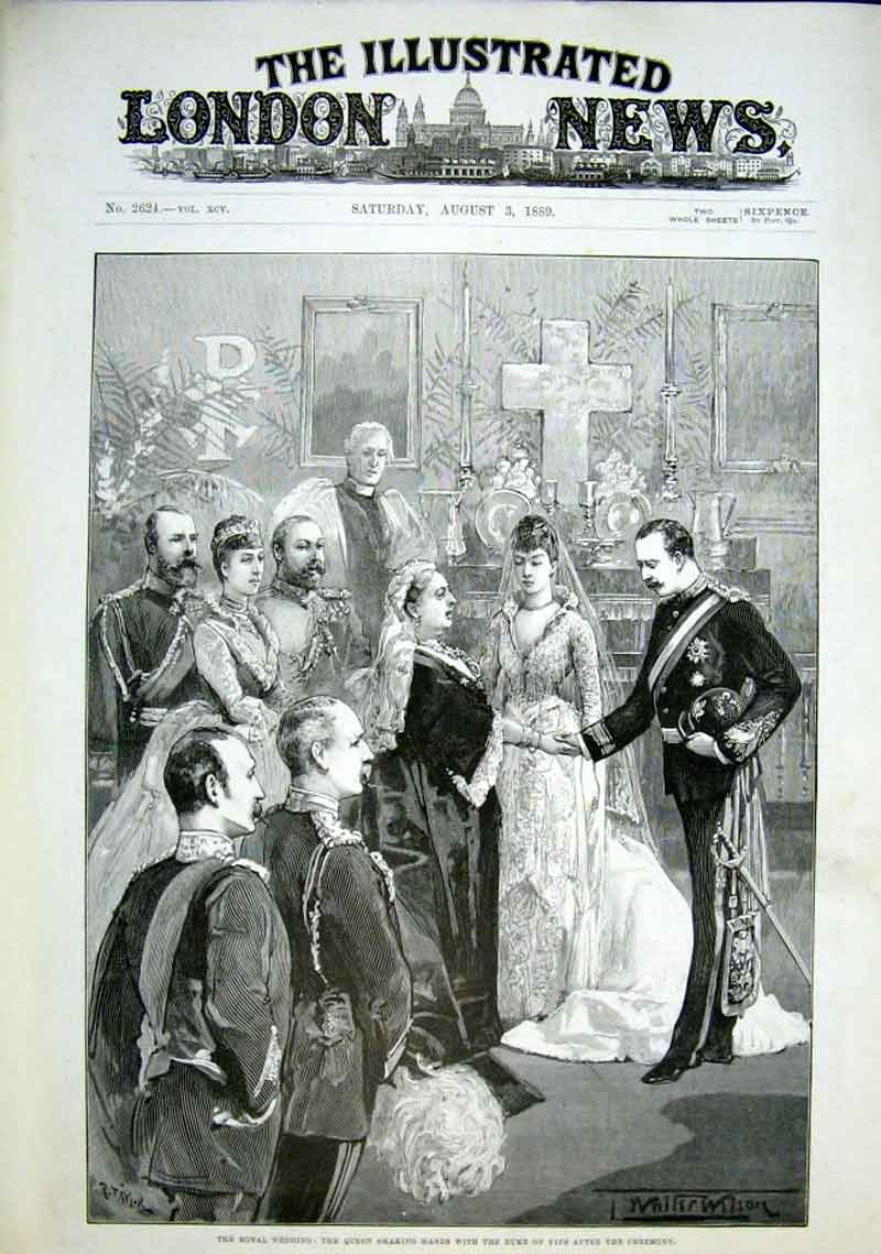 Print Queen Victoria Shakes Hand With Duke Fife After Wedding 34Aaa1 Old Original