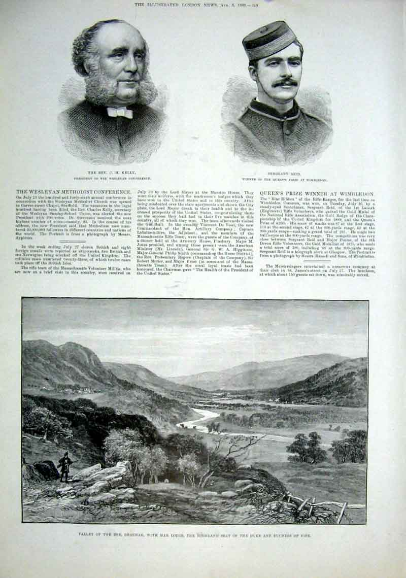 Print Rev Kelly & Sergant Reid Valley Dee Braemar Scotla 40Aaa1 Old Original
