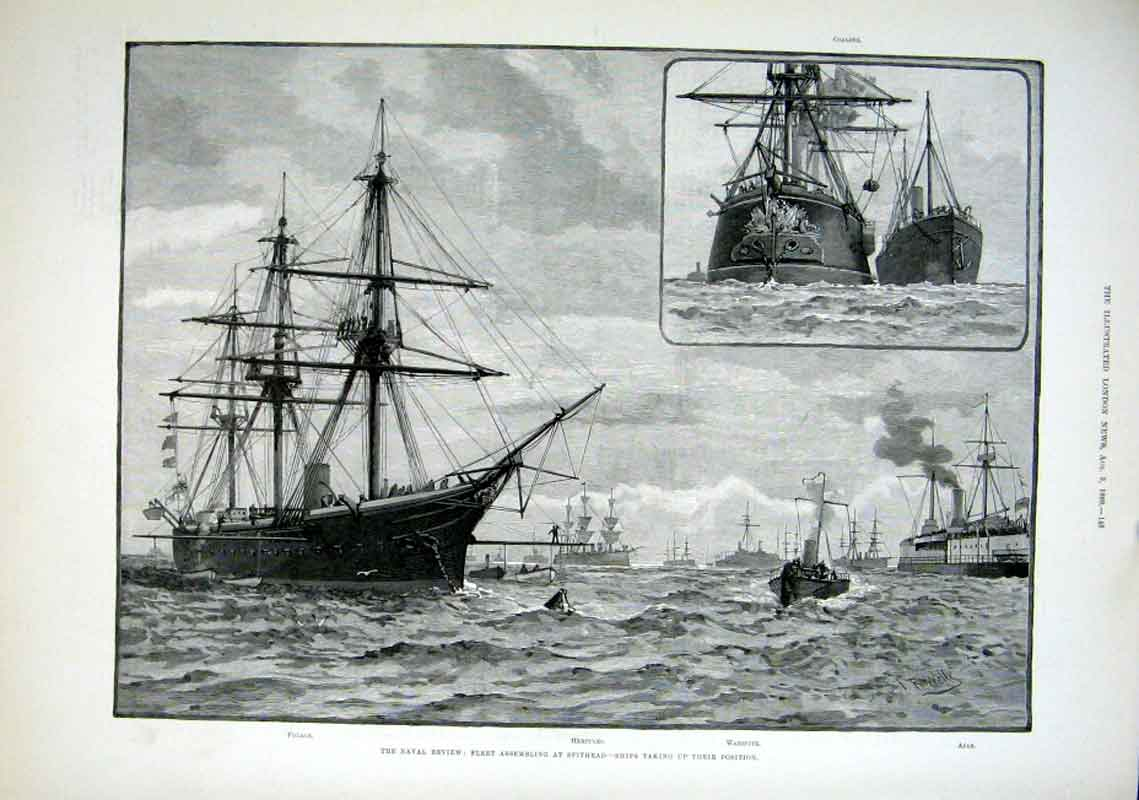 Print Sbhips Taking Up Positions At Spithead 1889 48Aaa1 Old Original
