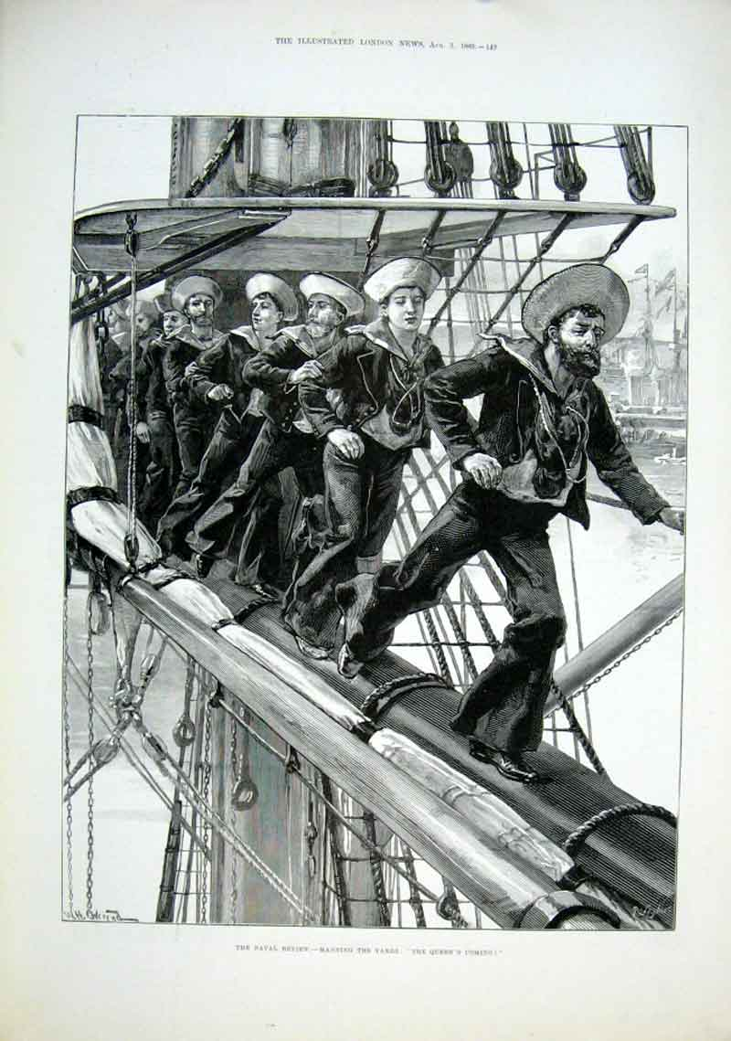Print Manning The Yards 1889 Sailors At Work 49Aaa1 Old Original