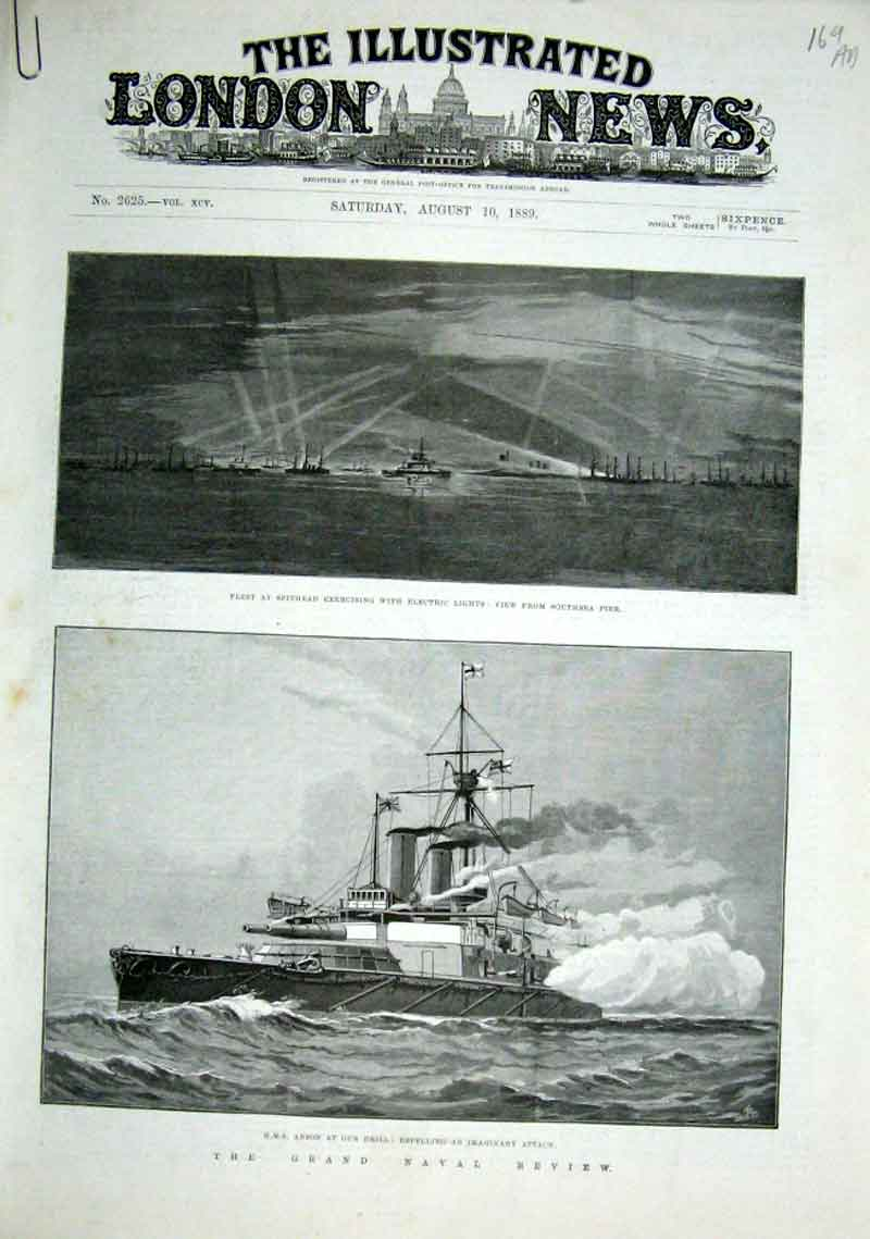 Print Ships Royal Naval Review 1889 69Aaaa1 Old Original
