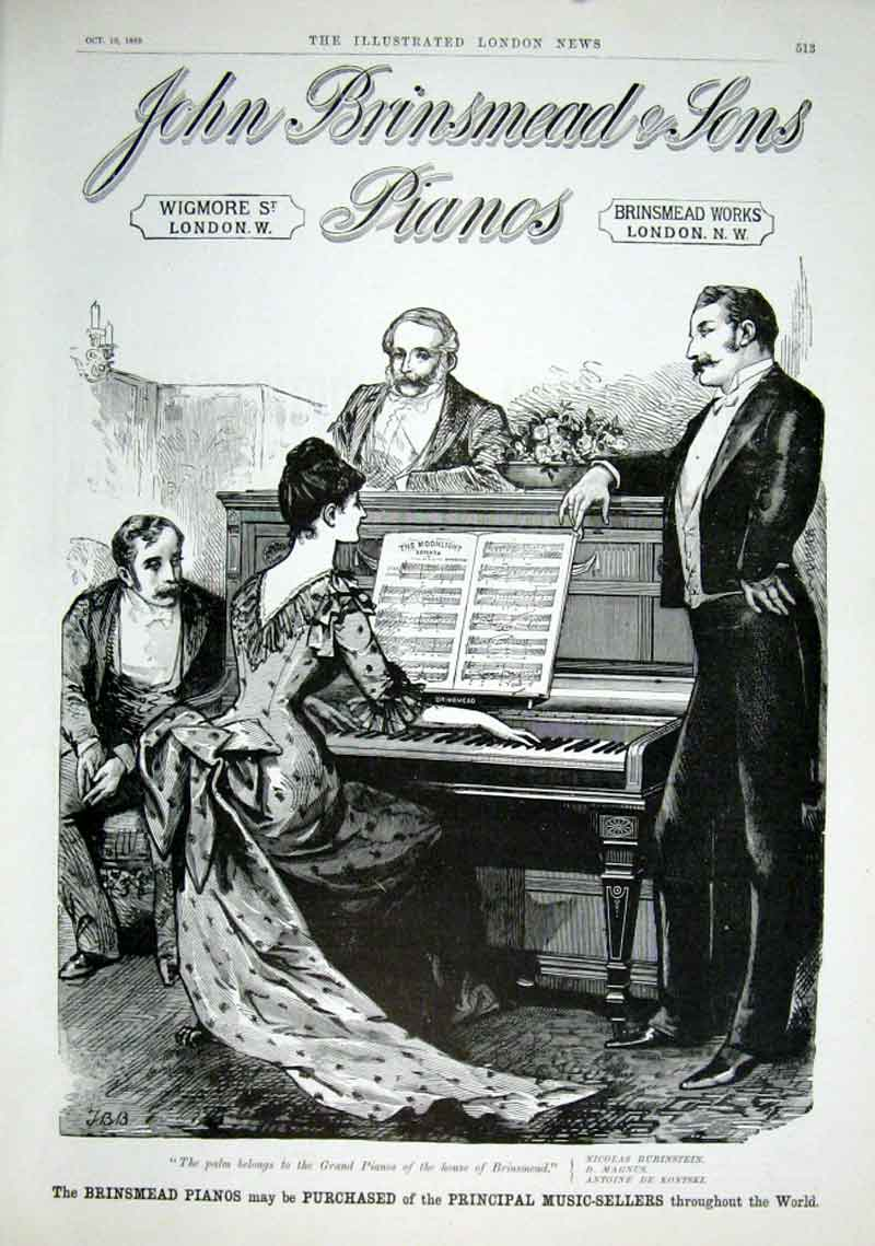 Print Brinstead Pianos Entertainment Before Wireless 1889 93Aaa1 Old Original