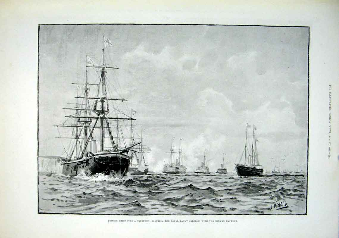 Print British Ships Salute Royal Yacht Osborne With German Em 01Aaa1 Old Original