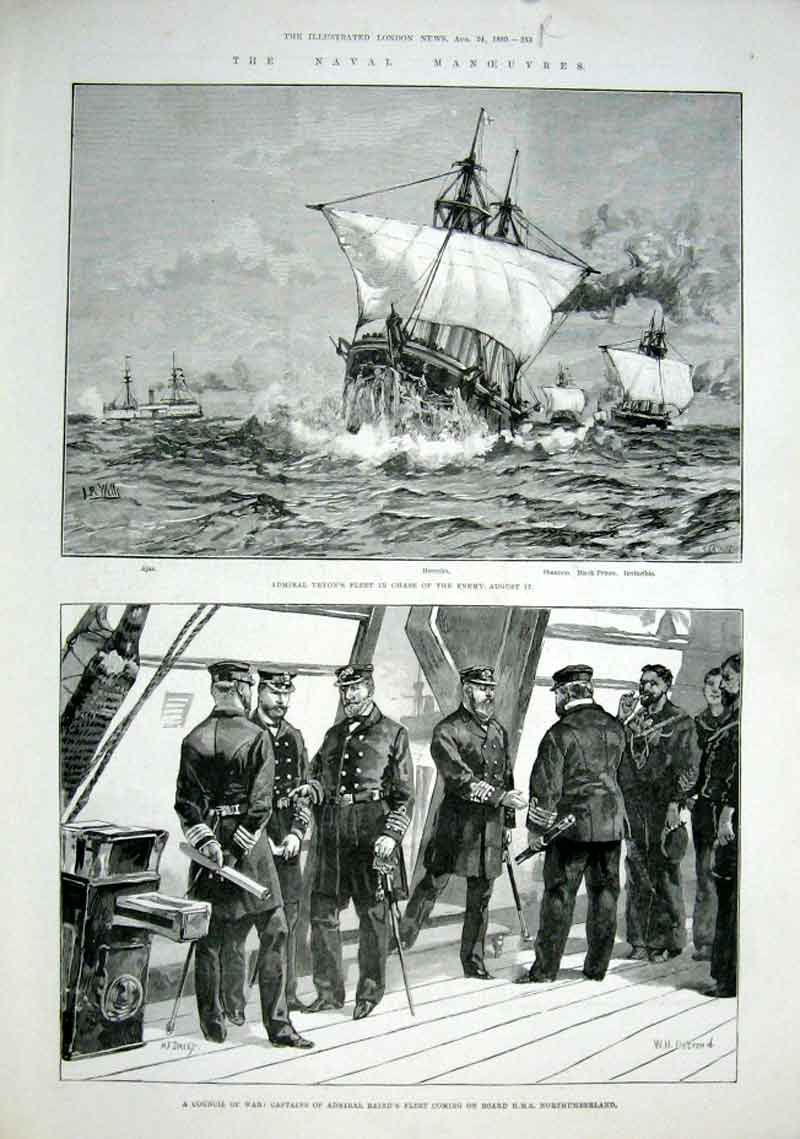Print Naval Manoeuvres At Waterford 1889 Ships 33Aaa1 Old Original