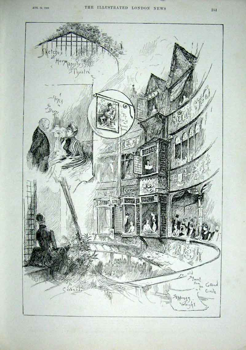 Print Sketches Her Majesty'S Theatre London 1889 51Aaa1 Old Original