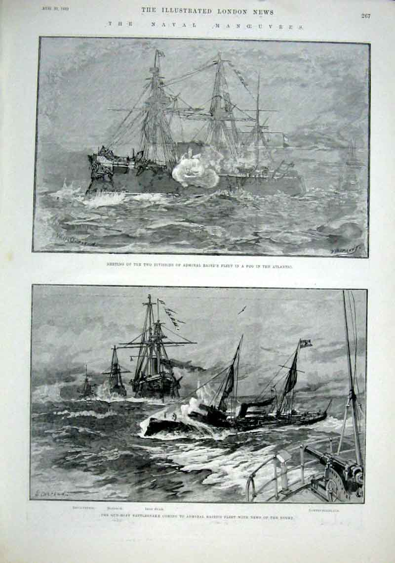 Print Naval Manoeuvres 1889 Ships 67Aaa1 Old Original