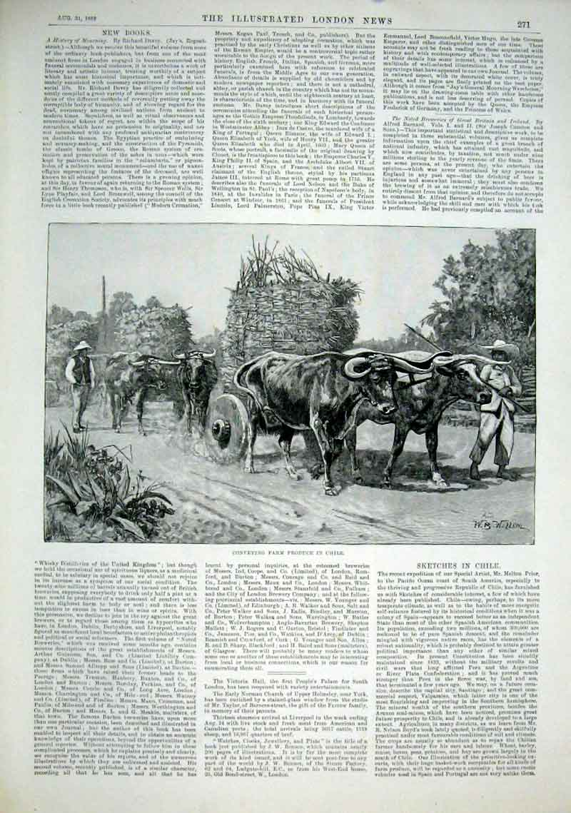 Print Ox Wagoins Conveying Farm Produce Chile 1889 71Aaa1 Old Original