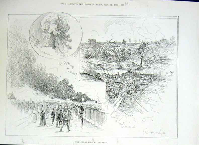 Print Great Fire Antwerp 1889 Holland 32Uaaa1 Old Original