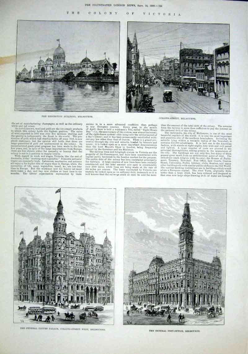 Print Colony Victoria 1889 Melbourne Australia 1 44Aaa1 Old Original