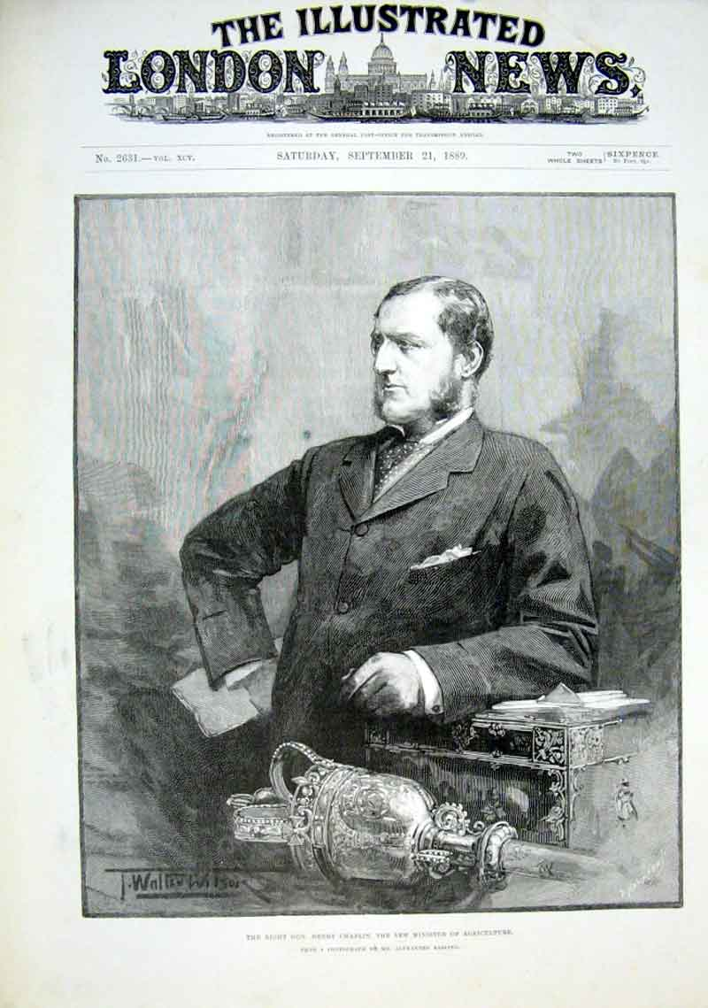 Print Henry Chaplin Minister Agriculture 1889 58Aaa1 Old Original