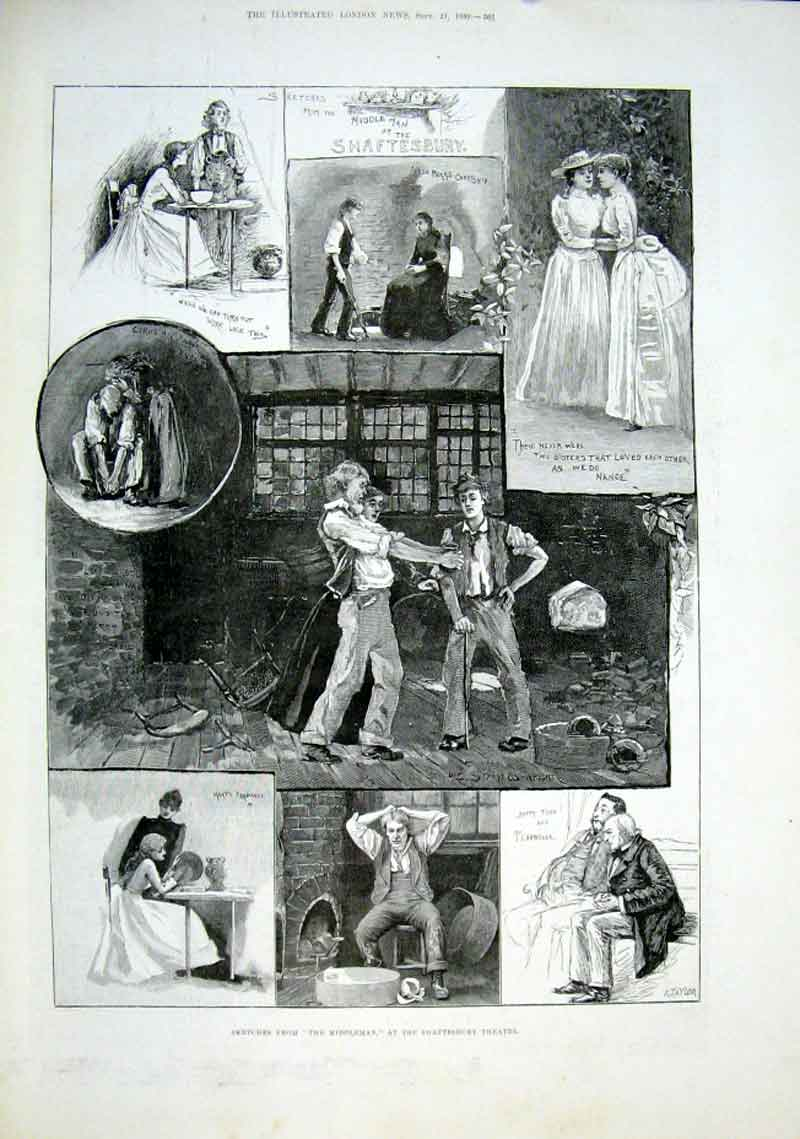 Print Middleman At Shaftsbury Theatre 1889 61Aaa1 Old Original