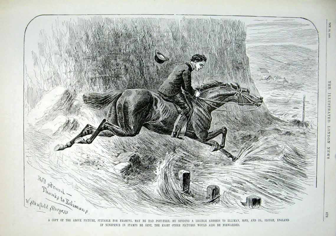 Print Horse In Cross Country By Sturgess 1889 79Aaa1 Old Original