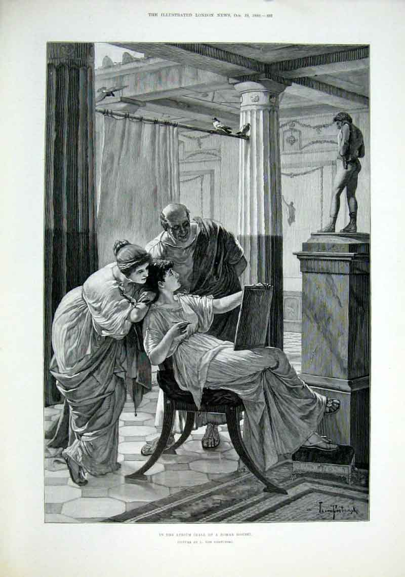 Print In Hall Roman House By Fortunski 1889 Fine 93Aaa1 Old Original