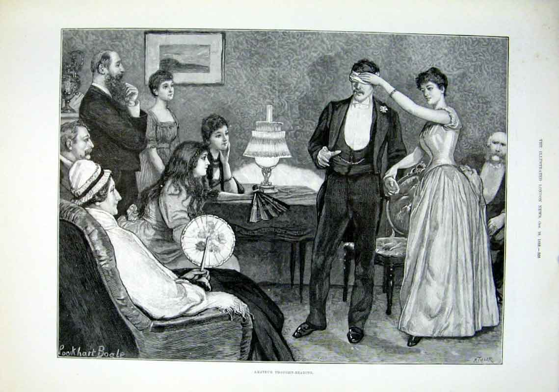 Print Amateur Thought Reading 1889 05Aaa1 Old Original