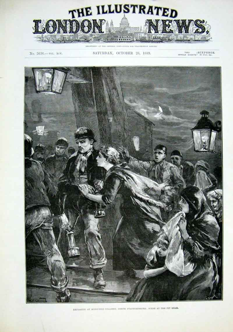Print Explosion Mossfield Colliery Staffordshire 1889 18Aaa1 Old Original