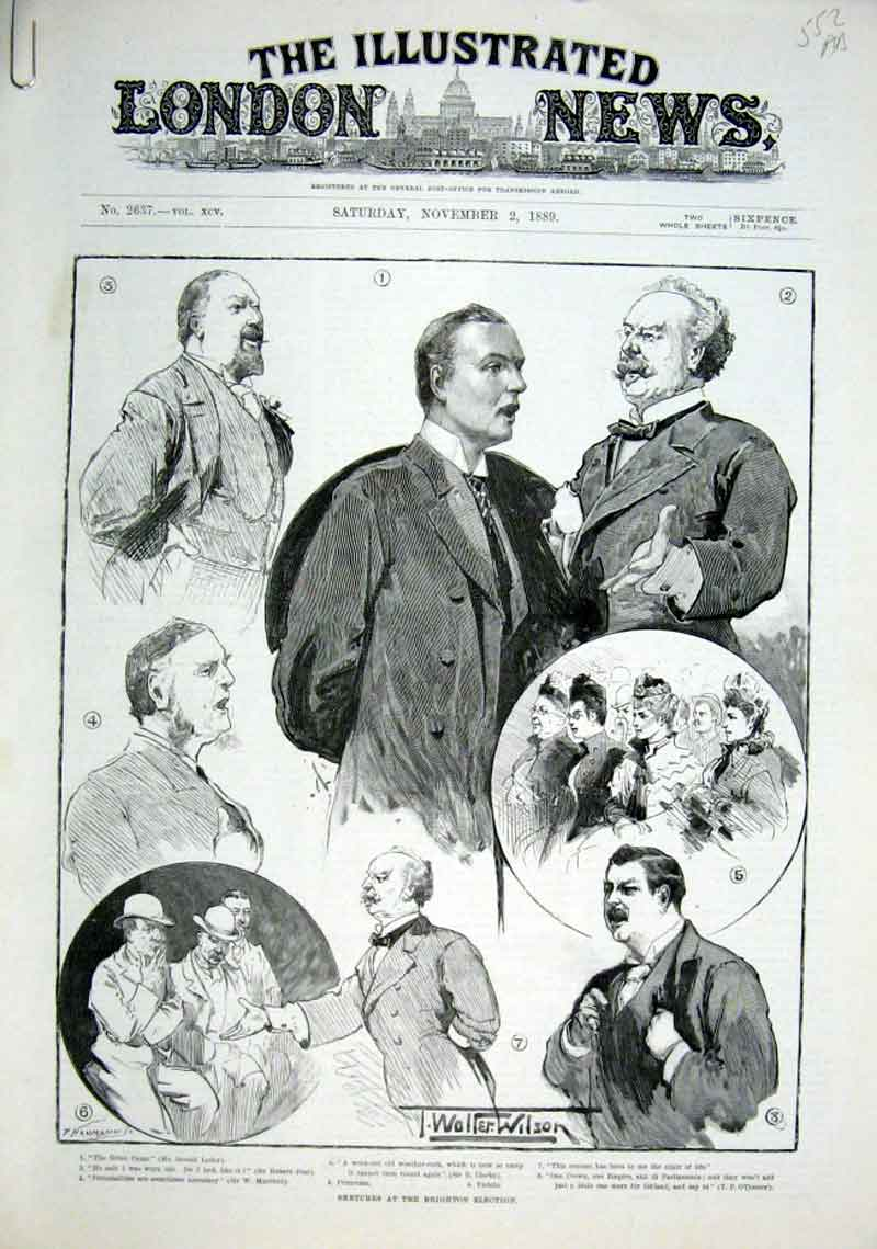 Print Brighton Election Sketches 1889 52Aaaa1 Old Original
