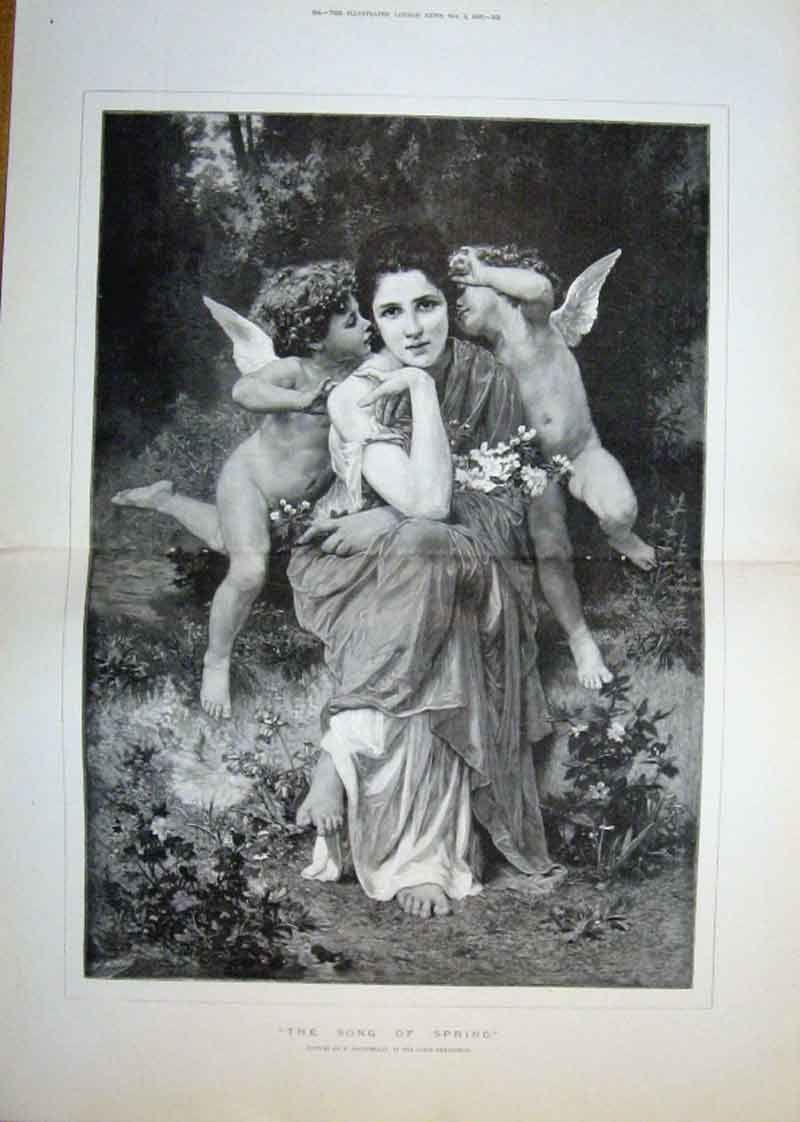 Print The Song To Spring By Bouguereau 1889 Fine Ar 63Taaa1 Old Original